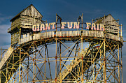Roller Coaster Metal Prints - Giant Fun Fair Metal Print by Adrian Evans
