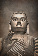 Worship Photo Prints - Giant Gold Buddha vintage Print by Jane Rix