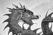 Old Shanghai China Prints - Giant golden Chinese dragon Print by Anek Suwannaphoom