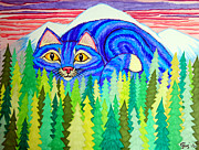 Cats Drawings Metal Prints - Giant Purple Striped Cat  Metal Print by Nick Gustafson