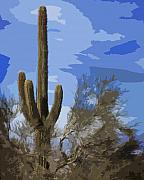 Phoenix Cactus Posters - Giant Saguaro Poster by Kelley King
