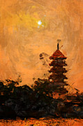 Bangkok Paintings - Giant Shrine by River by Stefan Olivier