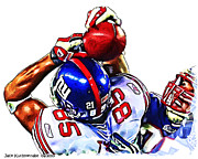 Tyree Prints - Giants David Tyree Print by Jack Kurzenknabe