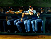 Major League Baseball Paintings - Giants Dugout by Char Wood
