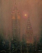 City At Night Paintings - Giants in the Mist by Tom Shropshire