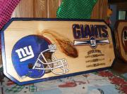 Sports Pyrography Prints - Giants Print by Kenneth Lambert