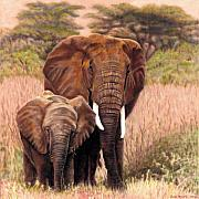 Family Pastels Posters - Giants Of Kenya Poster by Carol McCarty