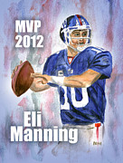Eli Manning Posters - Giants Win Poster by Clara Sue Beym