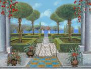 Lake Painting Framed Prints - Giardino Italiano Framed Print by Guido Borelli