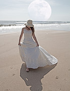 Bride Posters - Gibbous Moon Gown Poster by Betsy A Cutler East Coast Barrier Islands