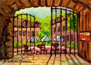 Quebec Streets Paintings - Gibbys Restaurant In Old Montreal by Carole Spandau