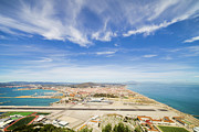 Outdoor Airport Posters - Gibraltar Airport Runway and La Linea Town Poster by Artur Bogacki