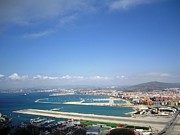 Outdoor Airport Posters - Gibraltar Bay Airport Runway View II UK Territory Poster by John A Shiron