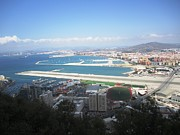 Outdoor Airport Posters - Gibraltar Bay Airport Runway View UK Territory Poster by John A Shiron