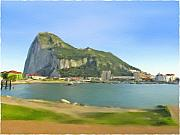 The View Mixed Media - Gibraltar from La Linea by Anselmo Albert Torres