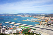 Outdoor Airport Posters - Gibraltar Runway and La Linea Cityscape Poster by Artur Bogacki