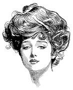 Ink Drawing Photo Prints - Gibson: Gibson Girl, 1900 Print by Granger