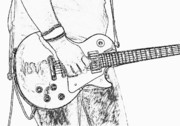 Guitar Player Prints - Gibson Les Paul Guitar Sketch Print by Randy Steele