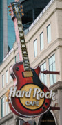 Gray Building Framed Prints - Gibson Les Paul of the Hard Rock Cafe Framed Print by DigiArt Diaries by Vicky Browning