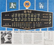 Los Angeles Dodgers Mixed Media Framed Prints - Gibsons 1986 World Series Homer Framed Print by Marc Yench