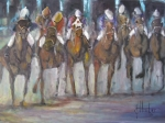 Horse Race Paintings - Giddy Up by Jeff Hunter