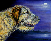 Wolfhound Framed Prints - Gideons Moon - Irish Wolfhound Framed Print by Lyn Cook