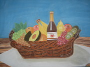 Basket Pastels Prints - Gift Basket Print by Vandna Mehta