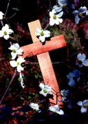 Religious Symbol Framed Prints - Gift Cross and Dogwood Framed Print by John Foote