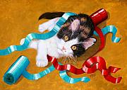 Mammals Art - Gift Wrapped Kitty by Lorraine Foster