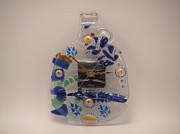Painted Wine Glass Glass Art Originals - Giftcraft-Glass  Clock by ALEXANDR and NATALIA GORBACHEV