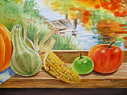 Corn Paintings - Gifts From Fall by Irina Sztukowski
