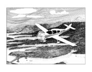 Planes Drawings Framed Prints - Gig Harbor Flyover Framed Print by Jack Pumphrey