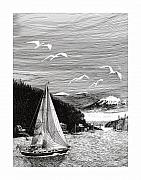 Yachts Drawings Prints - Gig Harbor Sailing School Print by Jack Pumphrey