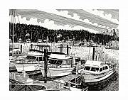 Marine Drawings Framed Prints - Gig Harbor Yacht Marina  Framed Print by Jack Pumphrey
