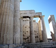 Neo-classical Posters - Gigantic Acropolis Parthenon Architectural Columns II with the Sun Rising and Blue Sky Athens Greece Poster by John A Shiron