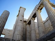 Neo-classical Posters - Gigantic Acropolis Parthenon Architectural Columns with the Sun Rising and Blue Sky Athens Greece Poster by John A Shiron