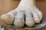 Exteriors Photo Posters - Gigantic foot from the statue of Constantine. Rome. Italy. Poster by Bernard Jaubert