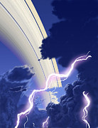 Lightning Bolts Posters - Gigantic Storms Rage In Saturns Cloudy Poster by Ron Miller