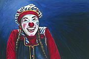 Smiling Painting Posters - Giggles the Clown Poster by Patty Vicknair