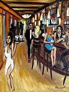 Bar Scene Paintings - Gigis Tavern by Valerie Vescovi