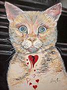 Kitten Prints Posters - Gilbert with the Broken Heart Poster by Ann Willmore