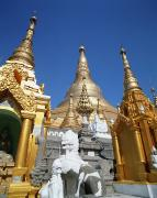 Rangoon Prints - Gilded Buildings Of Shwe Dagon Pagoda Print by Axiom Photographic