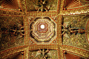Colonial Colleges Prints - GILDED CEILING Tepotzotlan Mexico Print by John  Mitchell