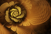 Flower Artwork Prints - Gilded Flower Print by John Edwards