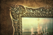 White Frame House Prints - Gilded mirror reflection of chandelier Print by Sandra Cunningham