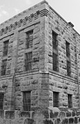 Window Bars Prints - Gillespie County Texas Jail of 1885 - 1939 bw Print by Elizabeth  Sullivan