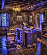 Woodcarving Prints - Gillette Castle Office HDR Print by Susan Candelario