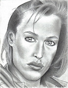 Business Cards Drawings Posters - Gillian Anderson Poster by Rick Hill