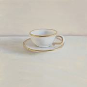 Illustrative Photo Framed Prints - Gilt Cup On White Marble Framed Print by Paul Grand