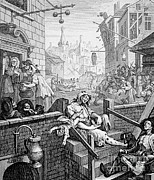 Hogarth Prints - Gin Lane, William Hogarth Print by Science Source